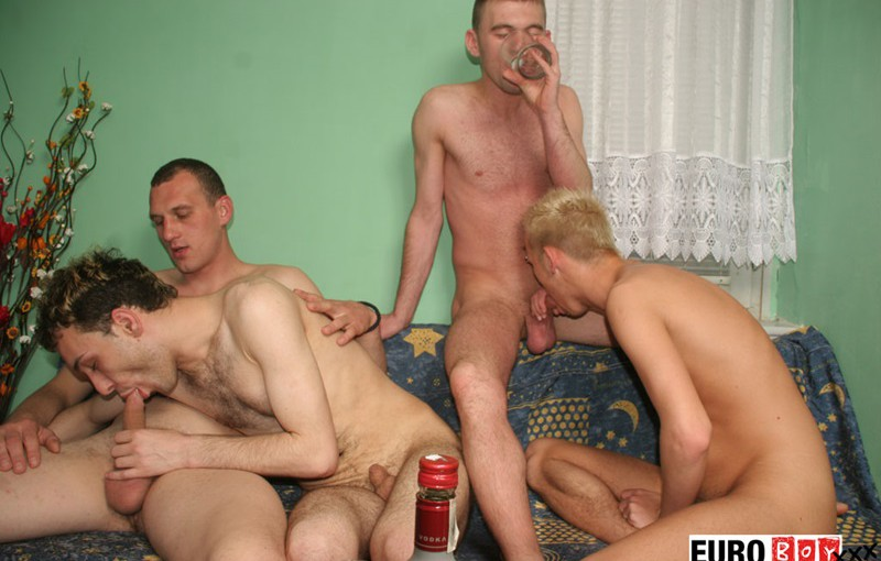 Four overly hung guys with uncircumcised cocks hardcore ass fucking orgy