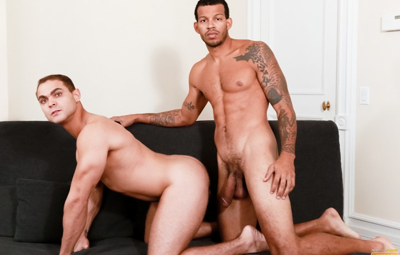 Brock Avery wraps his mouth around Mike Mann's big black throbbing dick