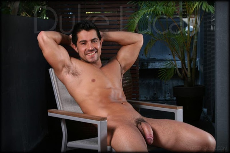 Legend Men sexy naked muscle boy Duke Lucas jerks his huge uncut cock to a massive cum orgasm