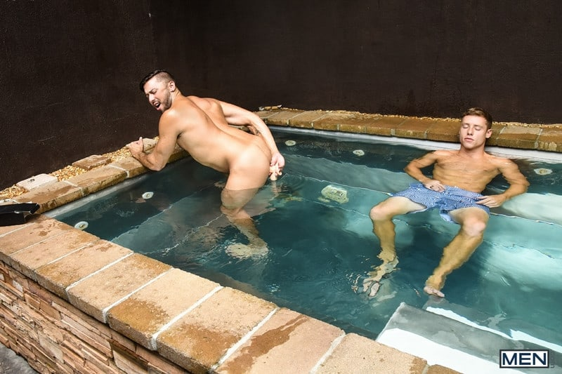 Men for Men Blog Justin-Matthews-and-Shane-Jackson-dildo-ass-play-Men-com-007-gay-porn-pics-gallery Justin Matthews is shocked to find Shane Jackson in the pool taking a huge dildo up his ass Men