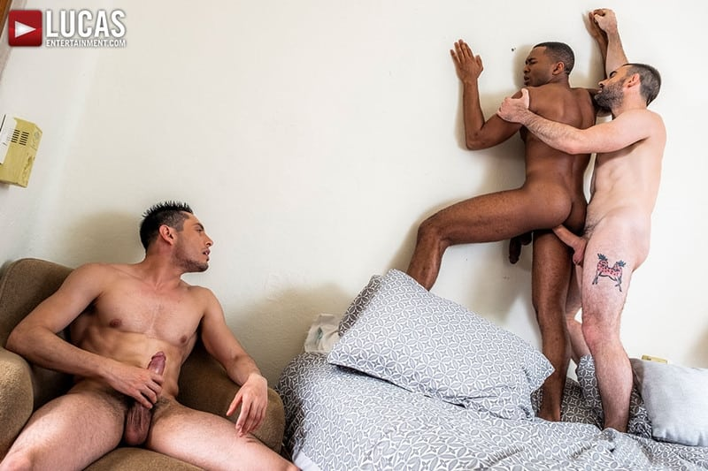 Men for Men Blog Ashton-Labruce-Sean-Xavier-Boy-Friend-Max-Arion-anal-fucked-huge-11-inch-cock-LucasEntertainment-019-gay-porn-pictures-gallery Ashton Labruce sits watching and stroking while BF Max Arion fucks black beauty Sean Xavier hot asshole Lucas Entertainment