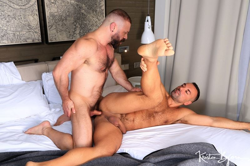 Kristen Bjorn hot hairy muscle hunks Mario Roma's big uncut cock barebacking flip flop Oliver Marinho's tight bubble ass