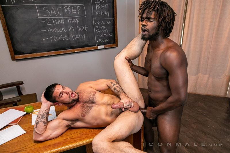 Sexy black muscle stud Devin Trez's big thick dick bare fucking horny hairy dude Aspen's hot asshole