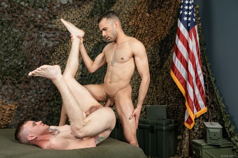 Active Duty sexy army dudes Ryan Jordan and Hugo Santana flip flop ass fucking orgy