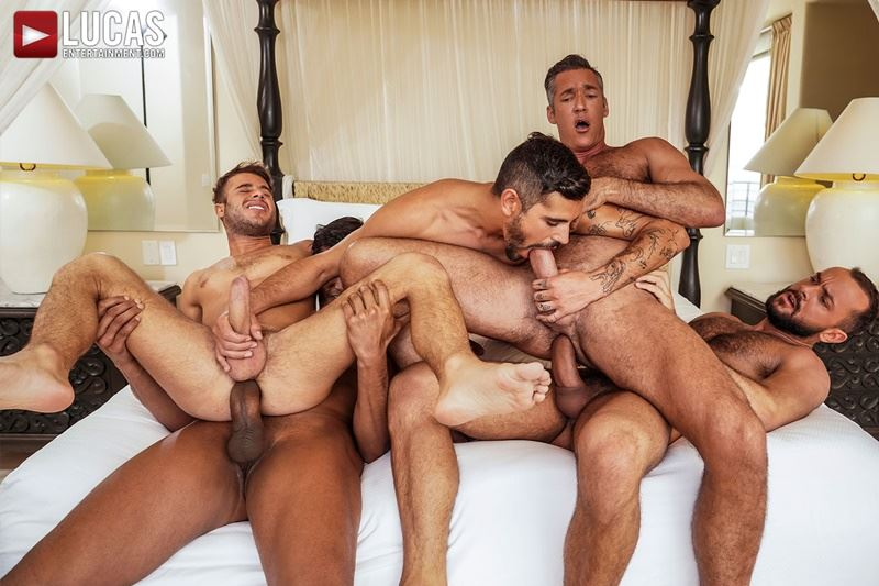 Hottie muscle studs Allen King, Marco Antonio, Silver Steele, Sir Peter and Valentin Amour bareback anal fucking at Lucas Entertainment